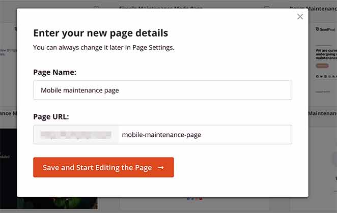 give your mobile landing page a name and url