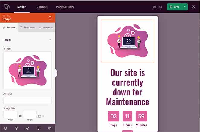 Preview of landing page on mobile devices