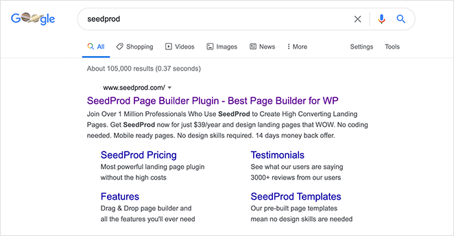 Optimize your landing page for search results