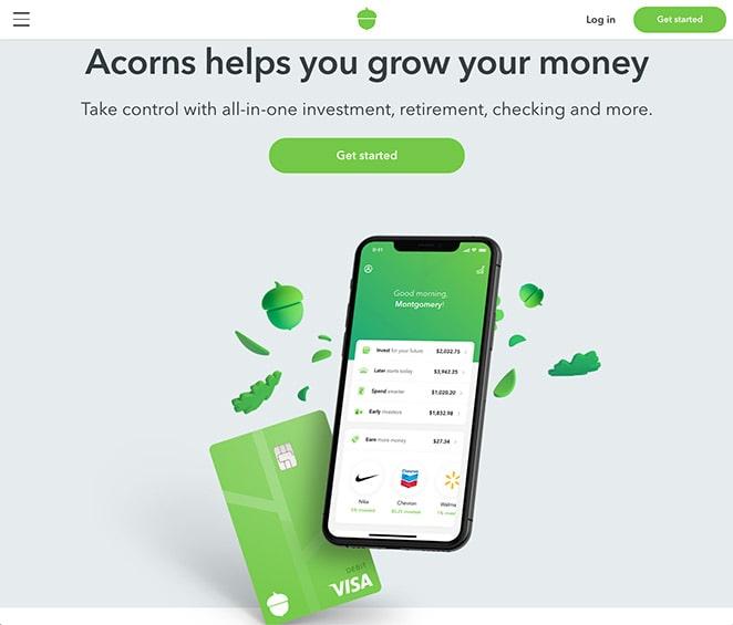 Acorn app landing page visuals