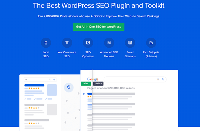 All in One SEO landing page