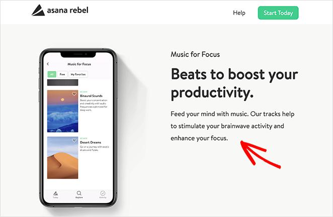 Asana Rebel app landing page design