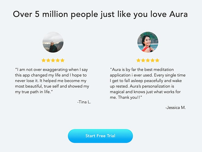 Aura app landing page with social proof