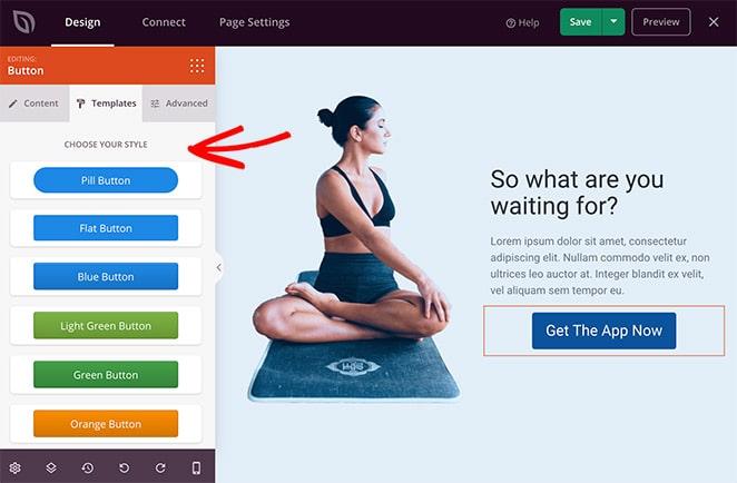 Landing page block templates