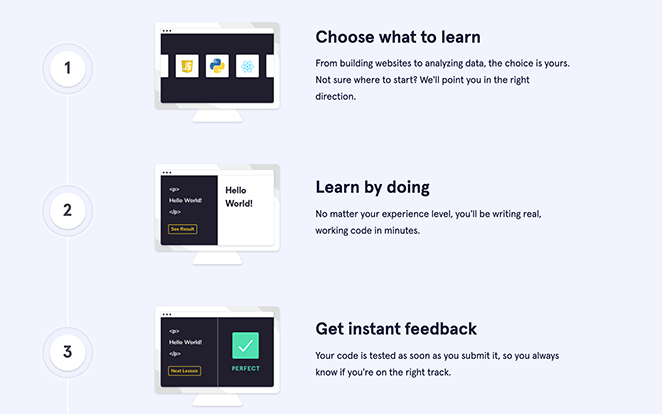 Codecademy landing page images