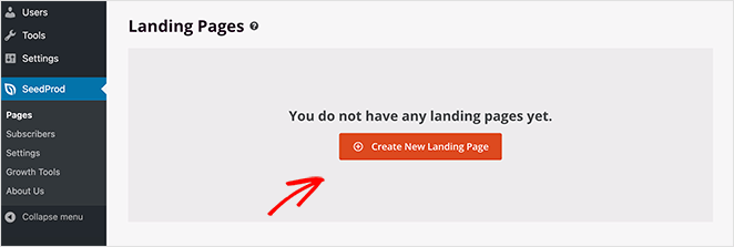 Create a new landing page in SeedProd