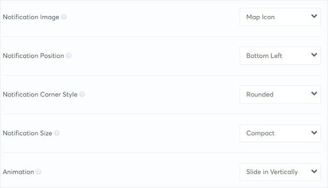 TrustPulse notification display settings