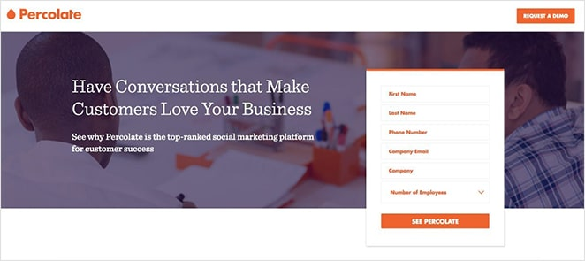 Implicit landing page directional cues with white space