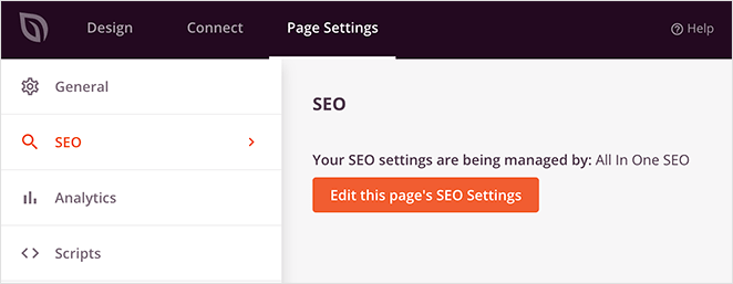 landing page SEO settings