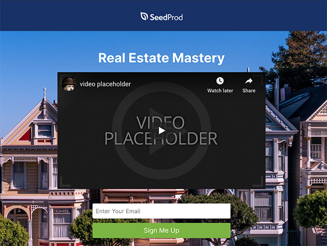 real estate squeeze page example