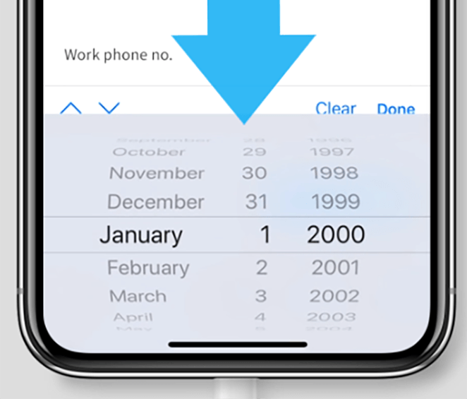 Scrolling mobile date selector