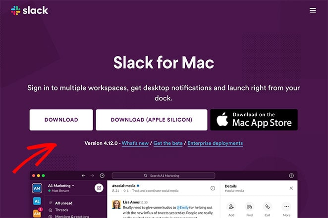 Slack app landing page example