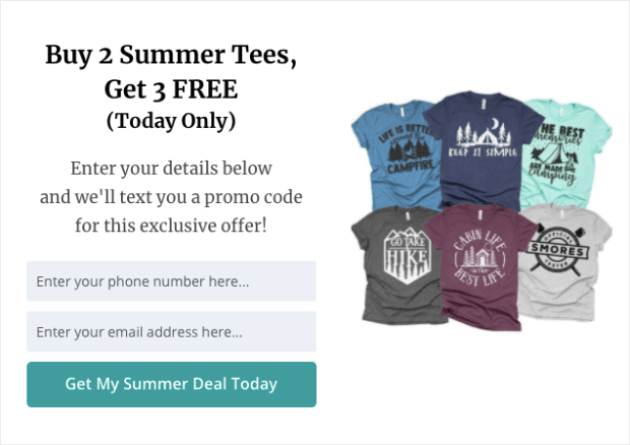 SMS marketing popup example