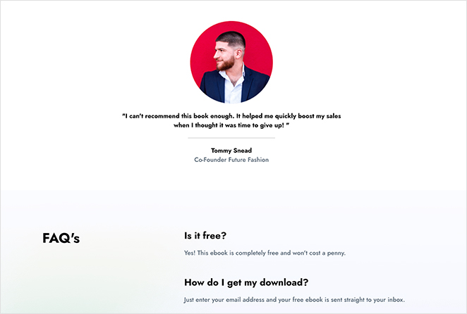 Squeeze page testimonials and FAQ