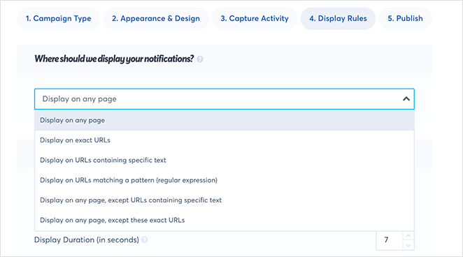 TrustPulse targeted display settings
