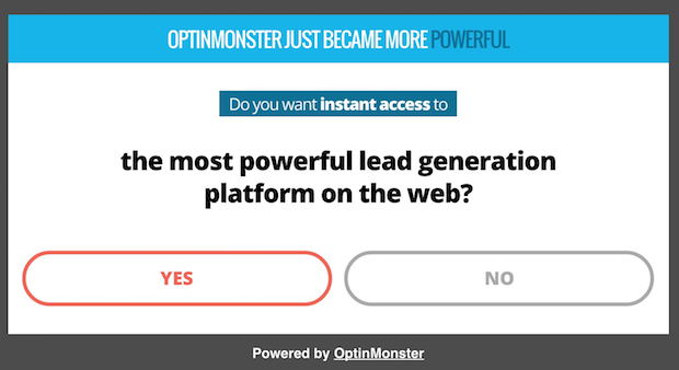 OptinMonster yes/no campaign