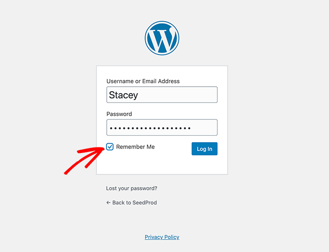 WordPress login form remember me checkbox