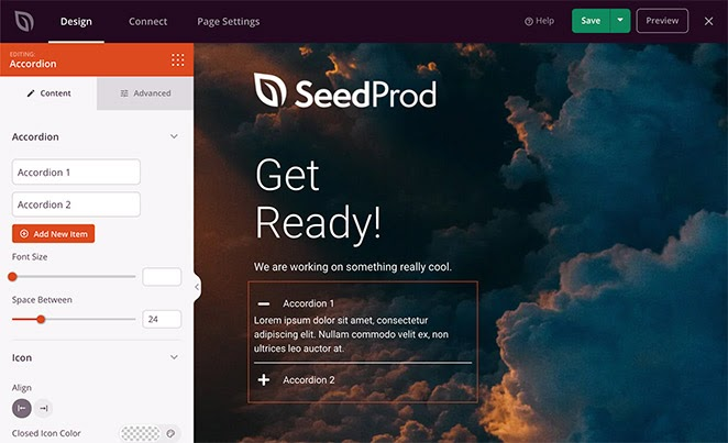 SeedProd accordion block for landing pages
