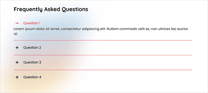 SeedProd accordion block for  landing page FAQ