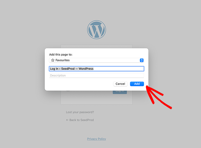 How to bookmark the WordPress login page with Safari