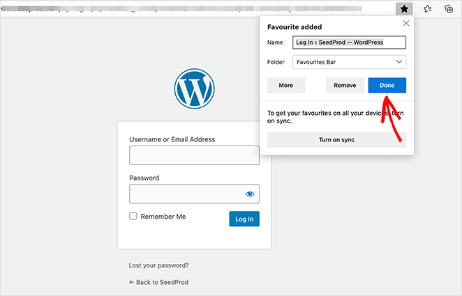 How to bookmark the WordPress login page URL with Microsoft edge