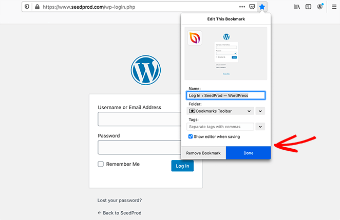 How to bookmark the WordPress login URL in Firefox