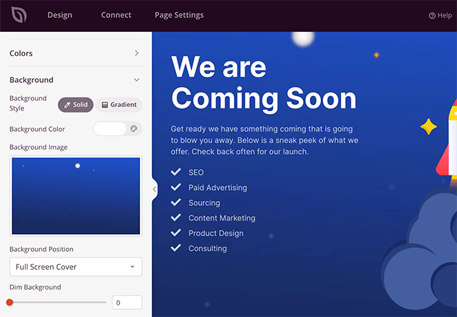 customize your coming soon page background in the global settings