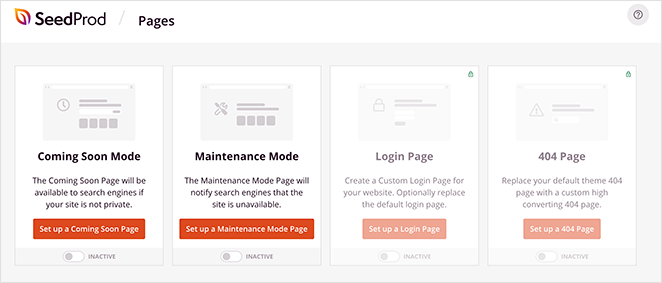 SeedProd's free landing page modes