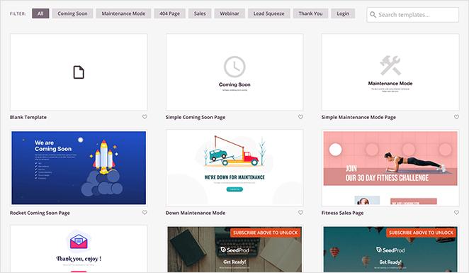 Free landing page templates