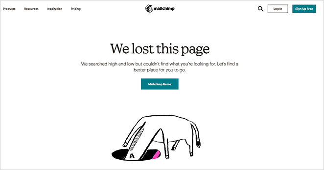Mailchimp simple 404 page design example