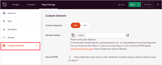 SeedProd  custom domain tab