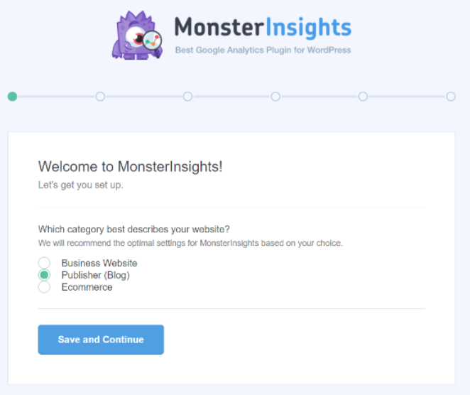 MonsterInsights is super-easy to set up with the WordPress setup wizard