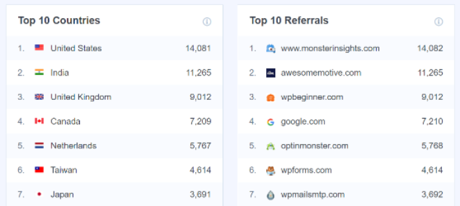 Track your top traffic sources and top referrals with MonsterInsights
