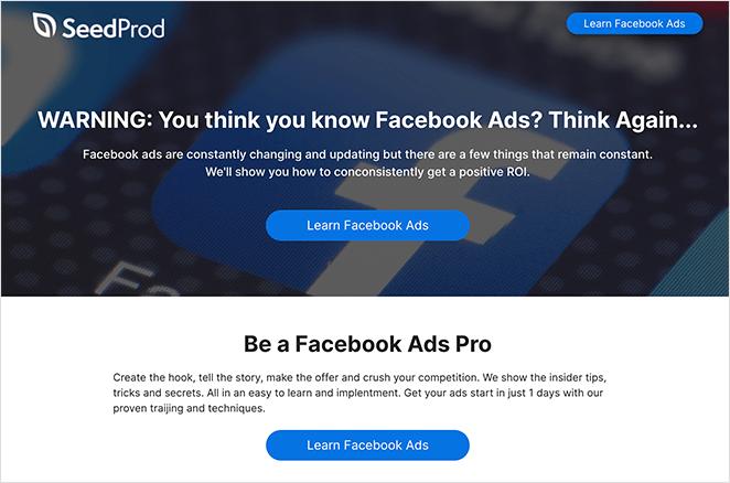 Facebook landing page made in WordPress