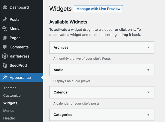 WordPress widget settings