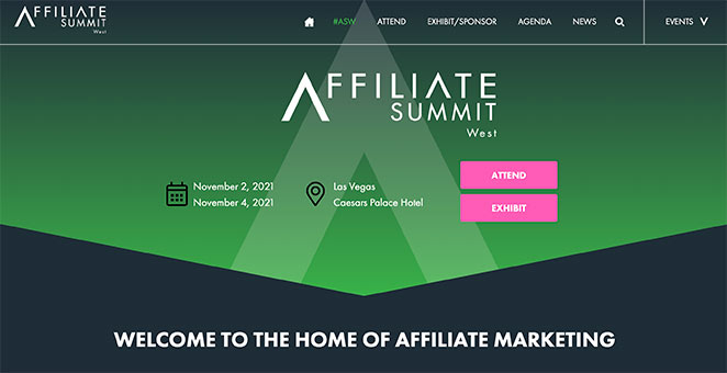 Affiliate summit event landing page