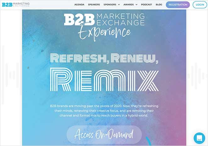 B2B marketing event landing page