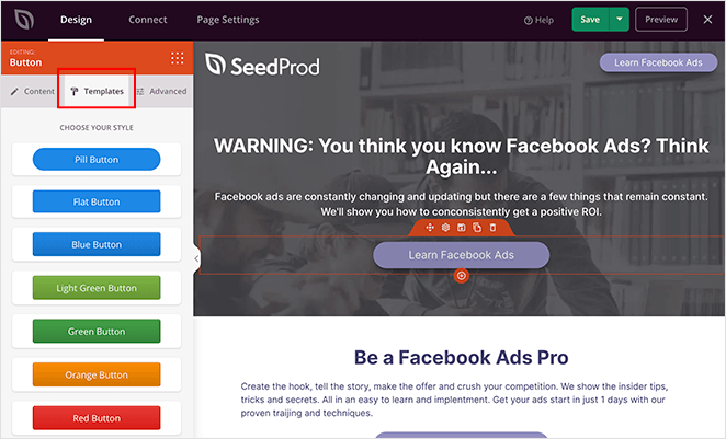 SeedProd block templates for landing pages