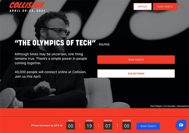 Collision conference landing page