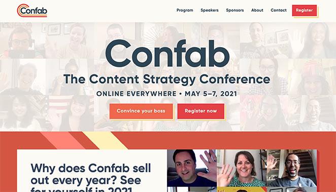 Confab event landing page design