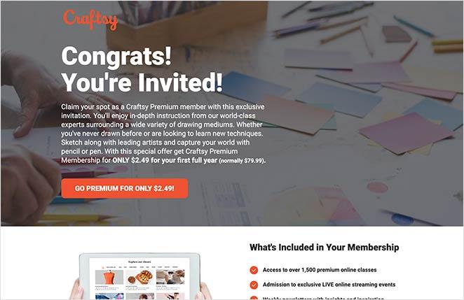 Craftsy's Facebook ad campaign landing page