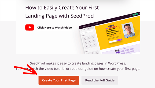 Create your first SeedProd landing page