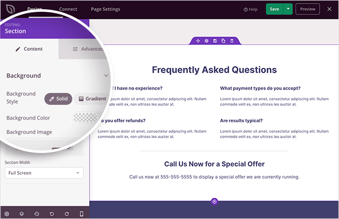 Customize your landing page faq section