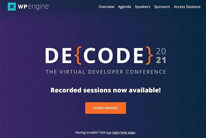 WPEngine Decode event landing page