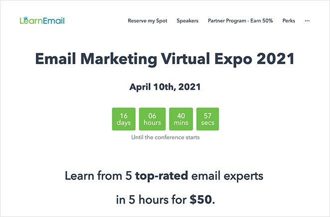 Email marketing event landing page