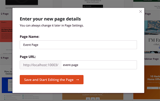 Enter your event page name and URL