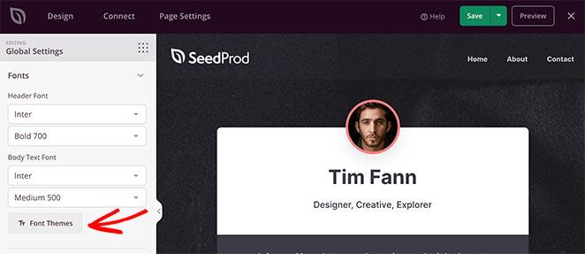 SeedProd global font settings