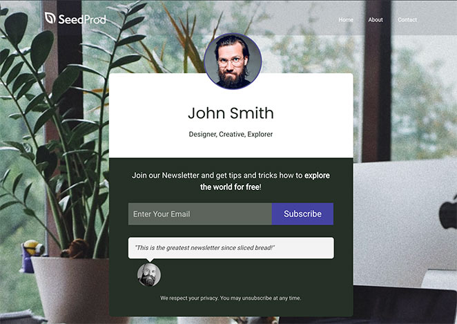 Preview of your GetResponse landing page in WordPress