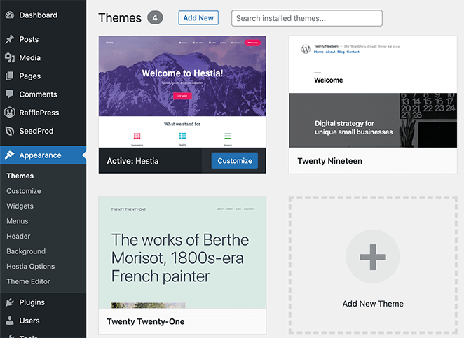 view your currently installed WordPress themes