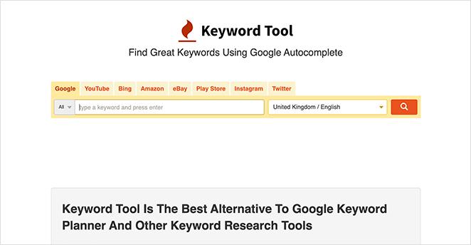 KeywordTool.io popular SEO tool for keyword research